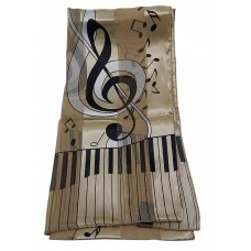 Scarf - Large Treble Clef and Piano Keys (Champagne)