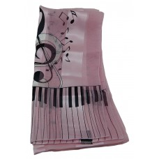 Scarf - Large Treble Clef and Piano Keys (Pink)