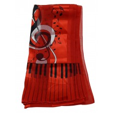 Scarf - Large Treble Clef and Piano Keys (Red)
