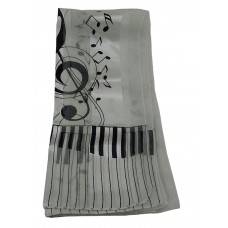 Scarf - Large Treble Clef and Piano Keys (Cream)
