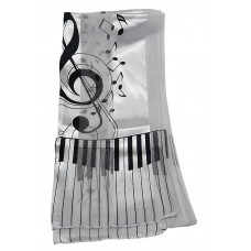 Scarf - Large Treble Clef and Piano Keys (White)