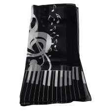 Scarf - Large Treble Clef and Piano Keys (Black)