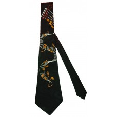 Neck Tie Flowing Music Staff (Black)