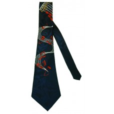 Neck Tie Flowing Music Staff (Navy)