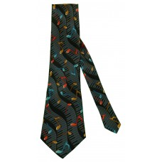 Parquet Grey Wavy Keyboards Neck Tie (Black)