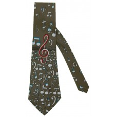 Neck Tie with Scattered Music Notes and Symbols (Taupe)