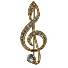 Brooch Large Treble Clef with Large Rhinestone (Gold)