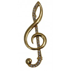 Brooch Large Treble Clef (Gold)