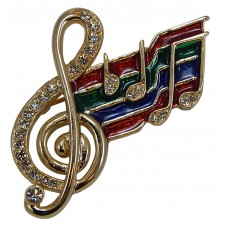 Brooch Colored Flag Treble Music Staff (Gold)