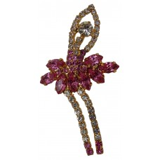Brooch Rhinestone Ballerina (Pink and Gold)