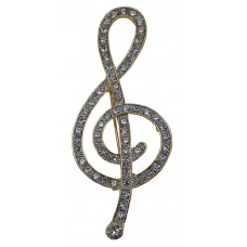 Brooch Large Cursive Treble Clef (Gold)