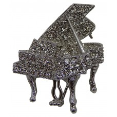 Brooch Grand Piano Encrusted with Rhinestones (Silver)